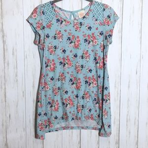 Light Blue Ultra Soft Floral Tunic Keyhole Back